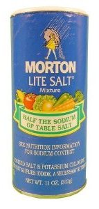 A photo of a container of Morton Lite Salt