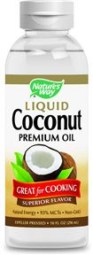 A photograph of Nature's Way premium liquid coconut oil