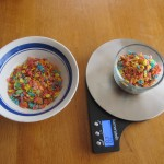 Photograph of Fruity Pebbles in a small and large bowl