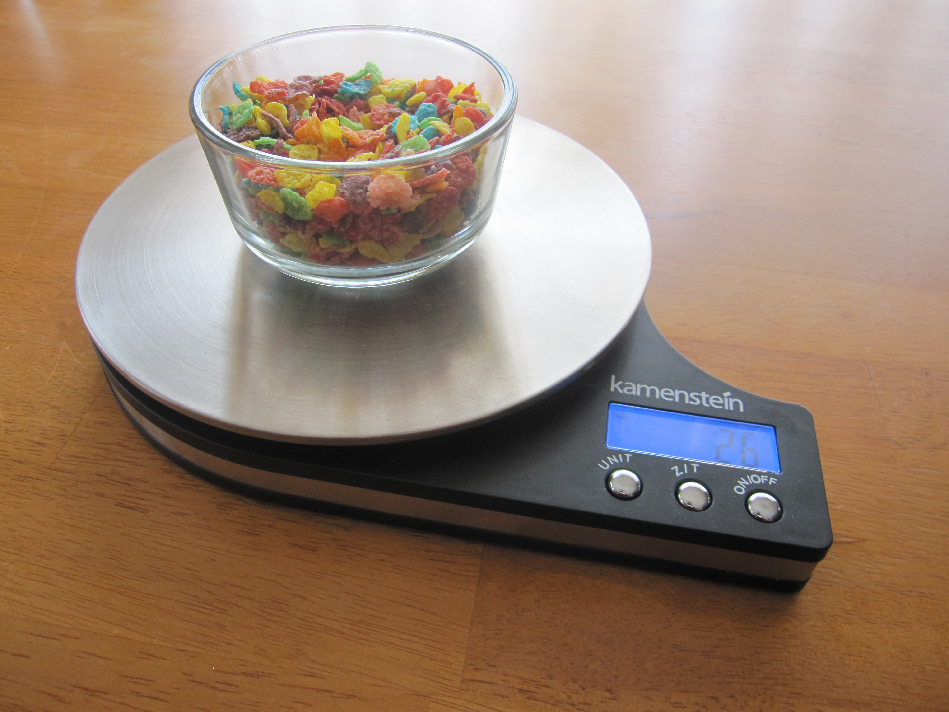 28 grams of fruity pebbles in a one cup bowl ketopia
