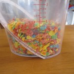 Photograph of Fruity Pebbles in a large measuring cup