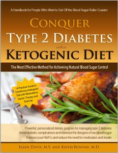 Photo of the cover of the book, Conquer Type 2 Diabetes with a Ketogenic Diet.